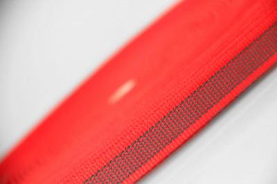 PES-Band rot | beidseitiger Gummiauflage | 20 mm | 50 mtr. Rolle.