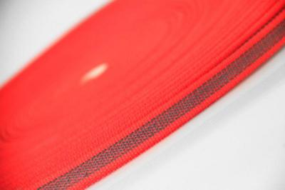 PES-Band rot | beidseitiger Gummiauflage | 12 mm | 50 mtr. Rolle.